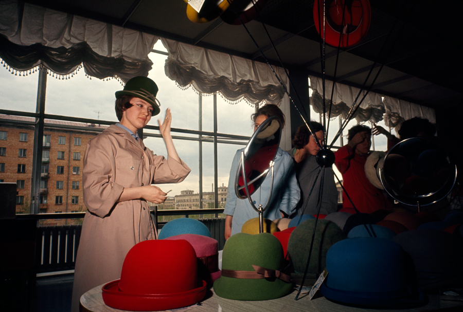 68 Women try on hats in a variety of colors in Moscow,